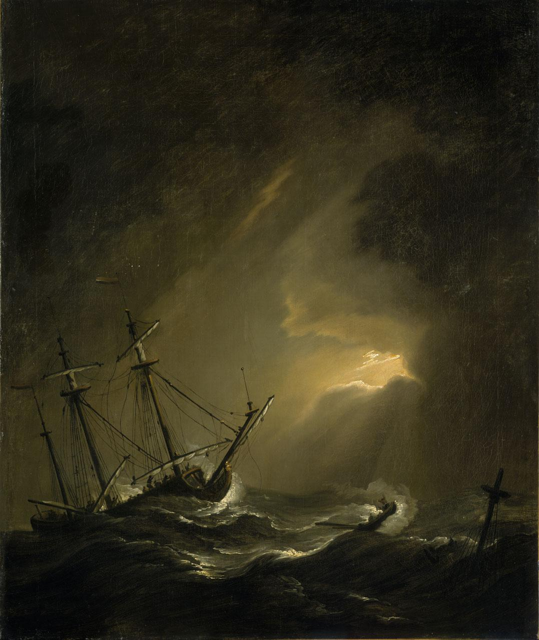An image showing 'Two English Ships Wrecked in a Storm on a Rocky Coast'