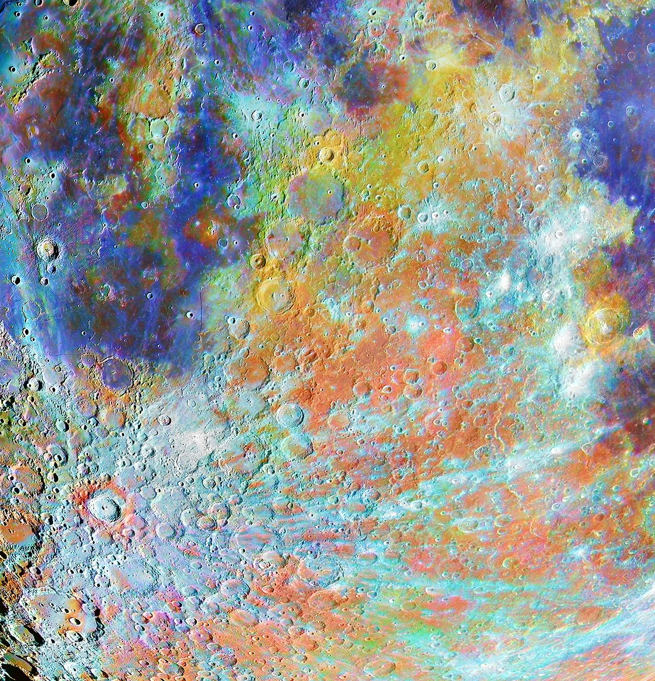 An image showing 'Tycho Crater Region with Colours'