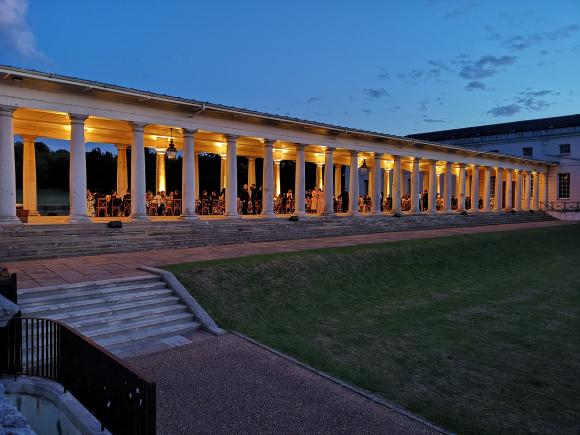 An image showing 'The Colonnades and Lawns for outdoor receptions'