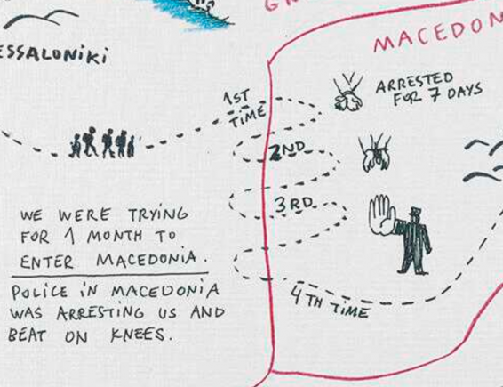 An image showing 'Journey from Syria to Serbia via Macedonia'