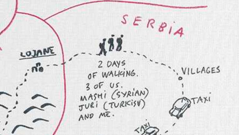 An image showing 'Journey from Lojane into Serbia'