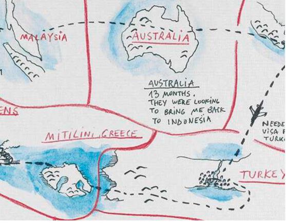 An image showing 'Journey from Sri Lanka to Serbia via Australia, Indonesia, Turkey and Greece'