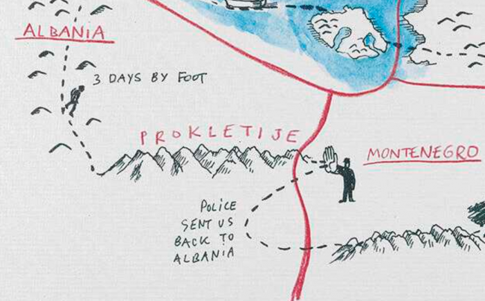 An image showing 'Attempted journey over the border of Albania into Montenegro'