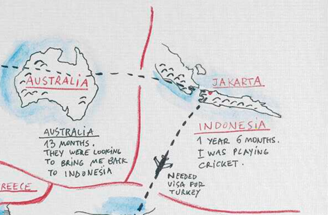 An image showing 'Journey from Malaysia to Turkey via Australia'