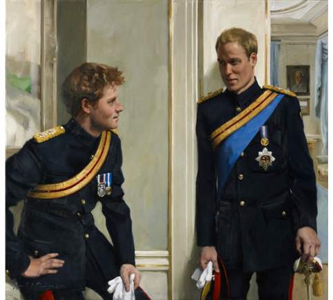 An image showing 'Prince William (later Duke of Cambridge) and Prince Harry (later Duke of Sussex) by Nicky Philipps'
