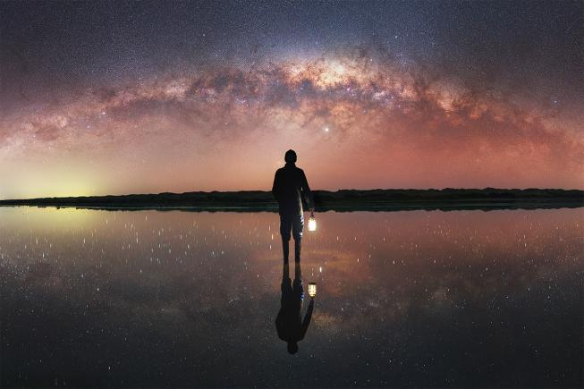 An image showing 'Self-portrait under the Milky Way'