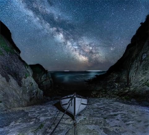 An image showing 'Milky Way and Meteor at Porthgwarra'