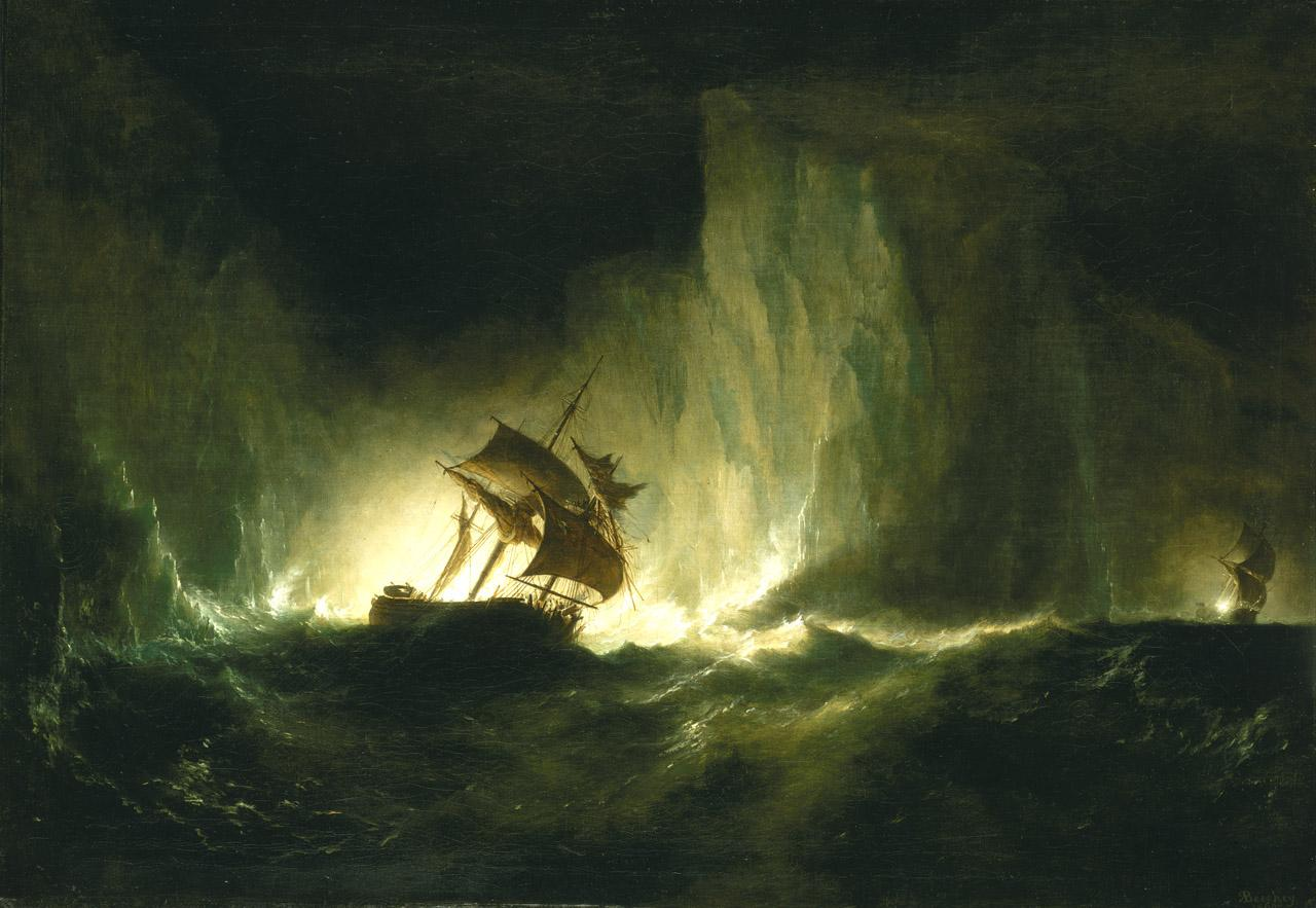 An oil painting of a sailing ship in the Arctic at night, with icebergs towering over the deck