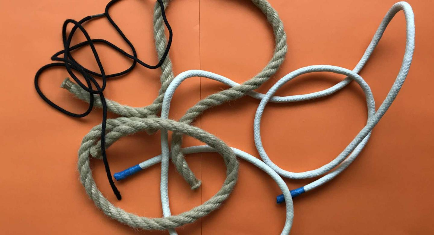 a collections of different types of rope and string