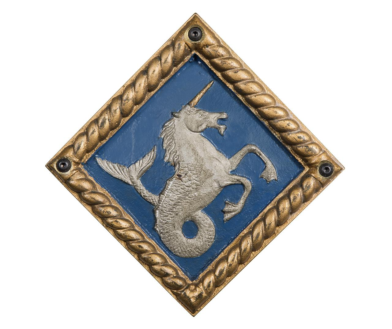 Emblem of unicorn with a mermaid's tail