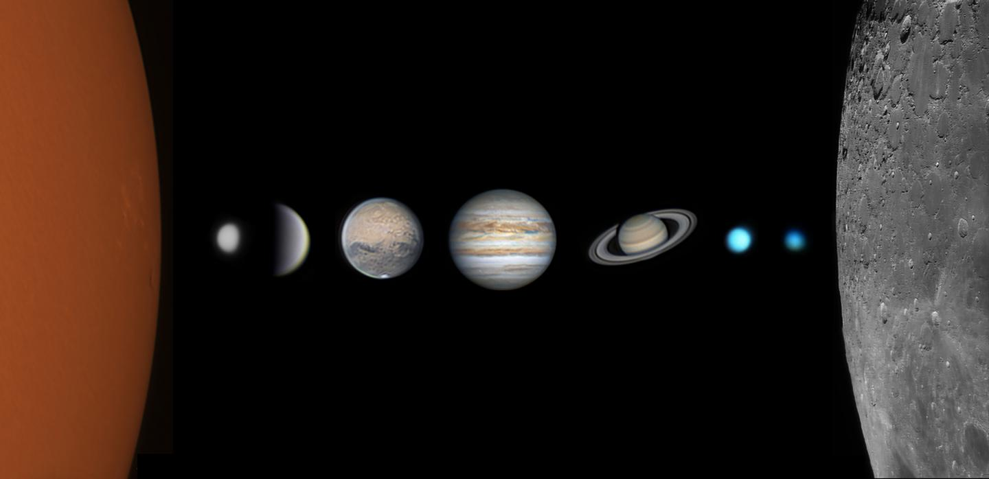 Composite image showing the different planets in our Solar System