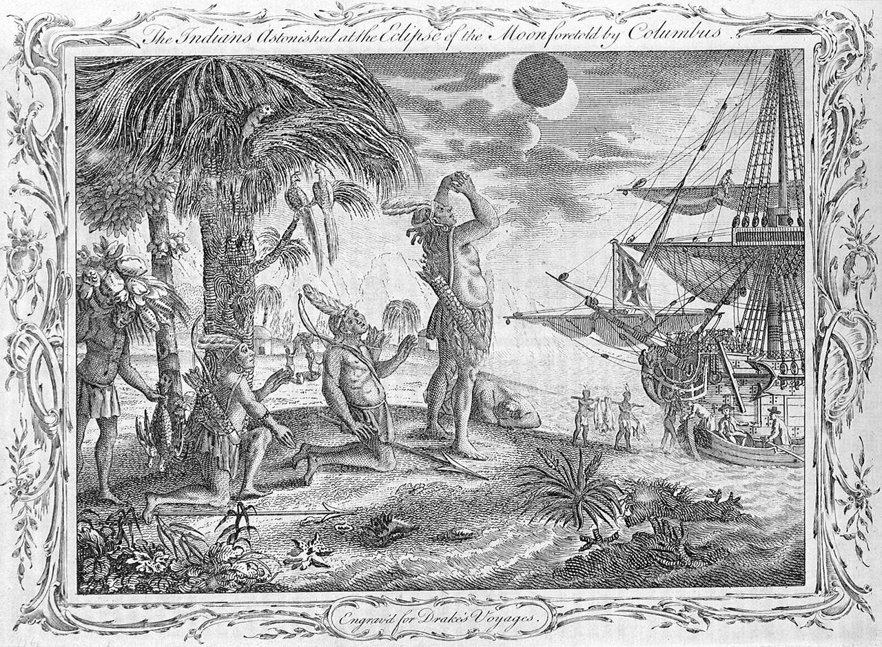 Christopher Columbus's voyage. The Indians astonished at the Eclipse of the Moon foretold by Columbus. Engraved for Drake's Voyages