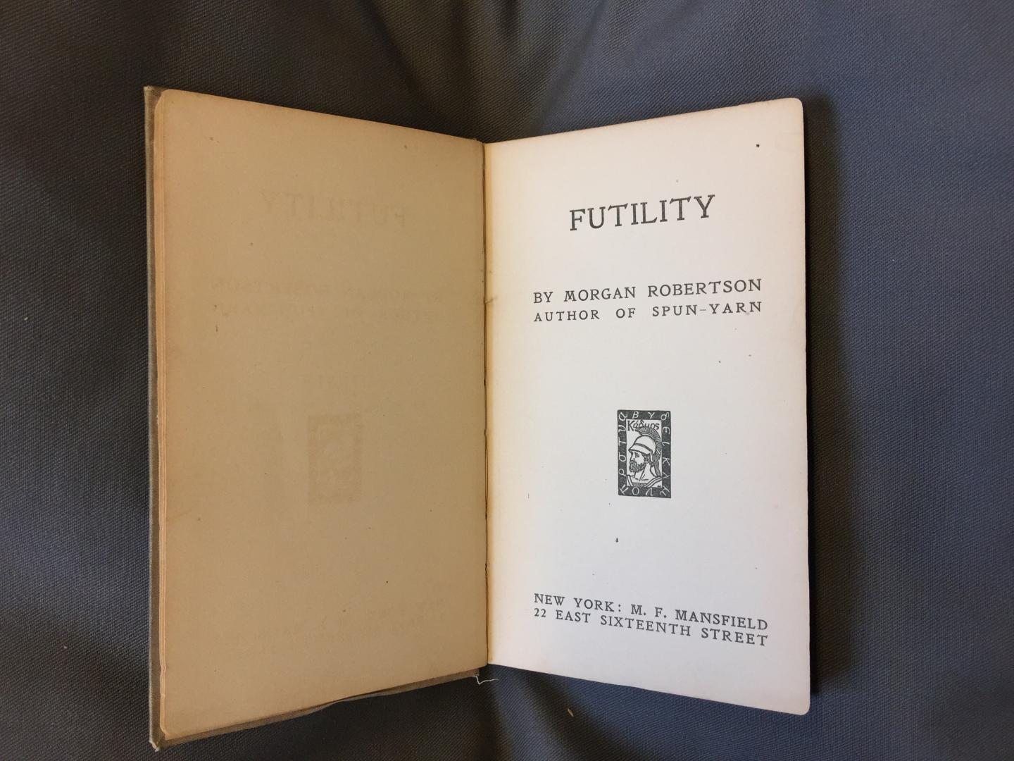 Title page of Futility by Morgan Robertson (RMG item ID: PBF5926)