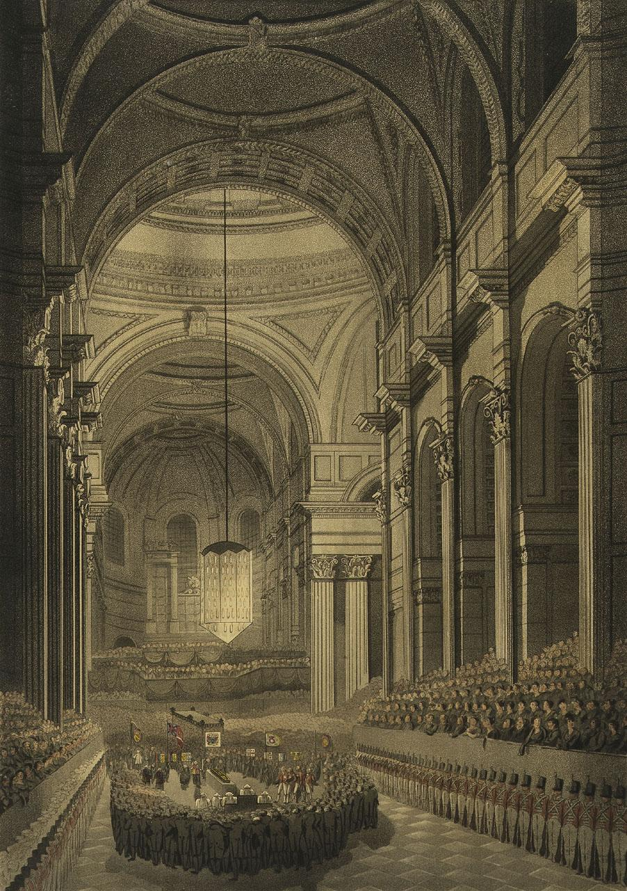 The funeral ceremony of Nelson in St. Paul's Cathedral at the moment when Sir Isaac Heard, Garter Principal King at Arms, gave his oration