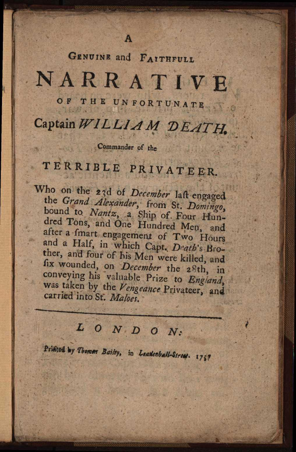 Title page of A genuine and faithfull narrative of the unfortunate Captain William Death by Joseph Hart