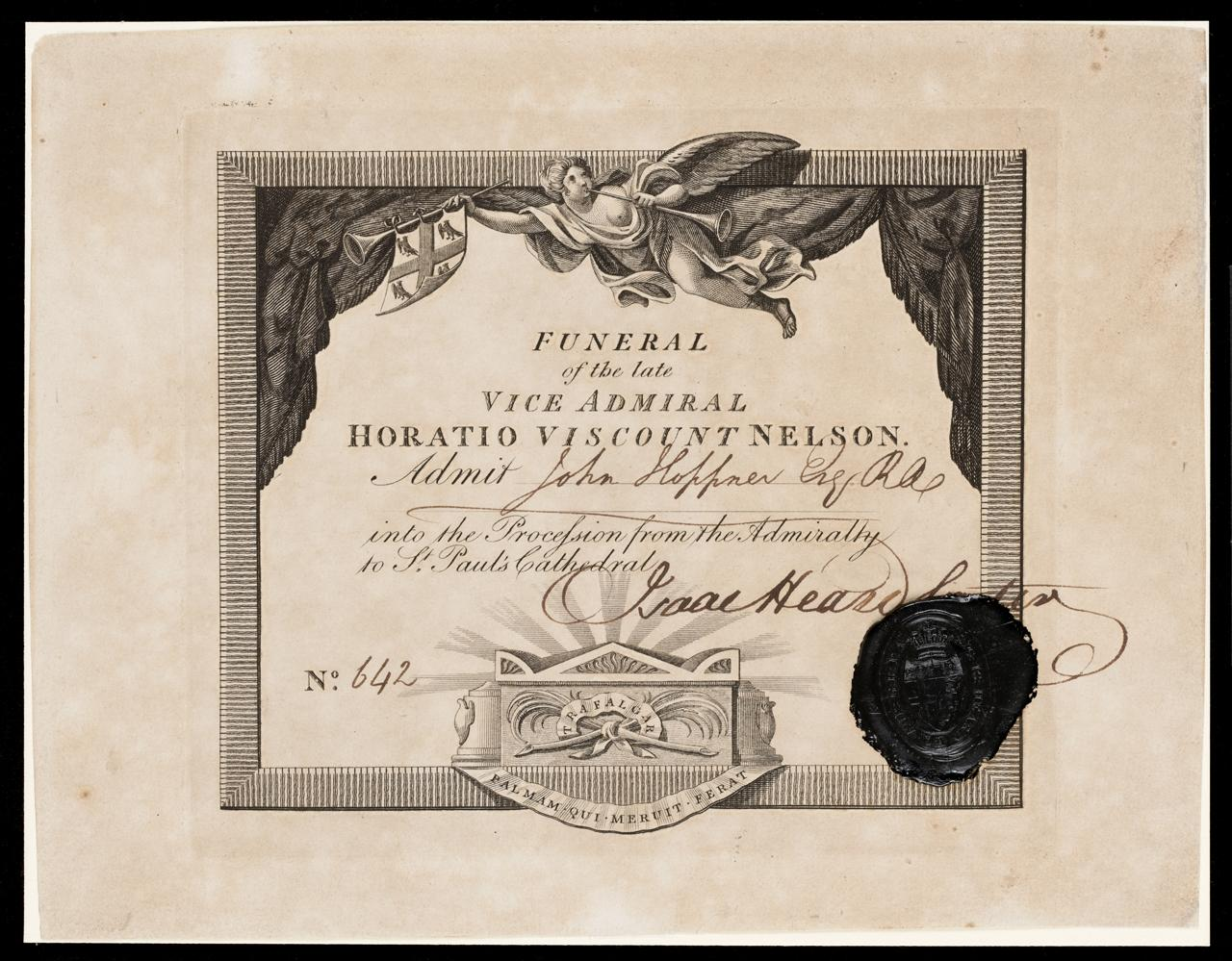 Funeral ticket signed by Sir Isaac Heard