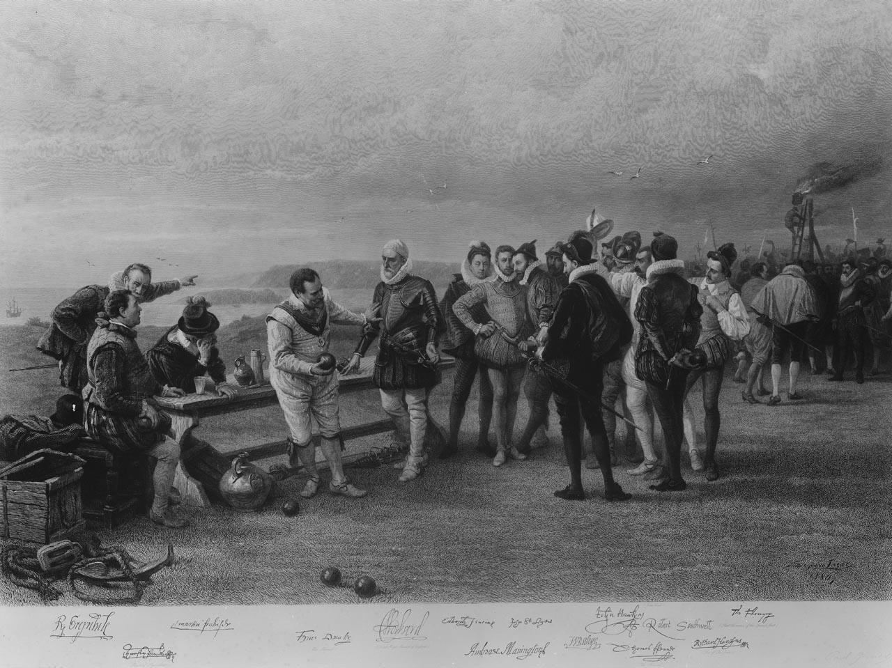 Drake playing bowls on Plymouth Hoe, as the Spanish Armada is sighted (PAJ2845, © NMM)