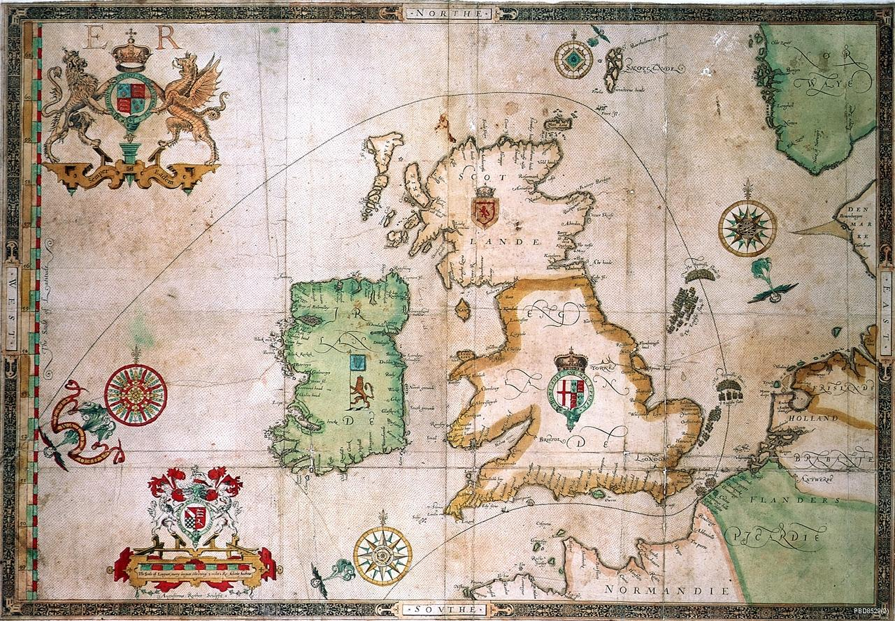 Map of the track of the Armada around Britain and Ireland (PBD8529(2), © NMM)