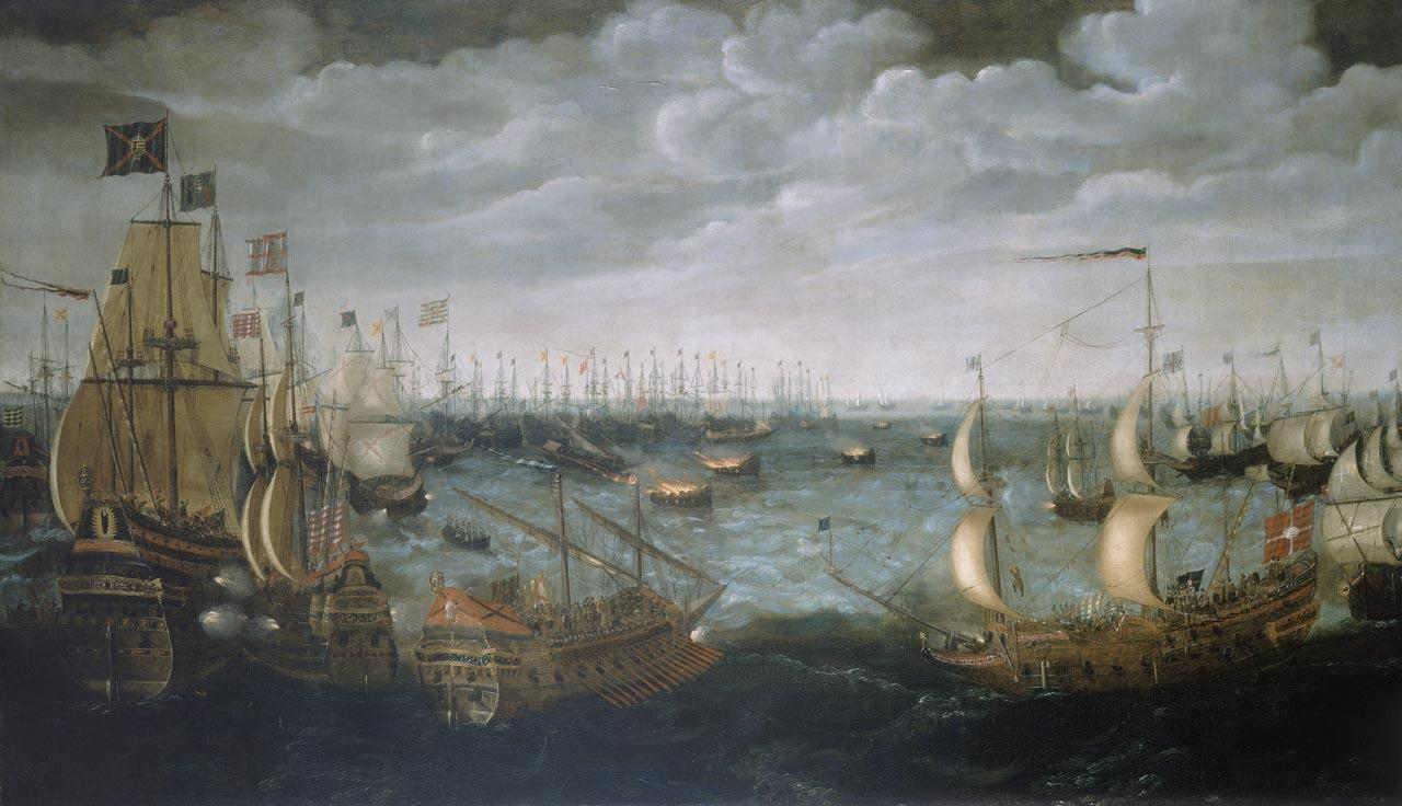 Launch of fireships against the Spanish Armada, 7 August 1588 (BHC0263, © NMM)
