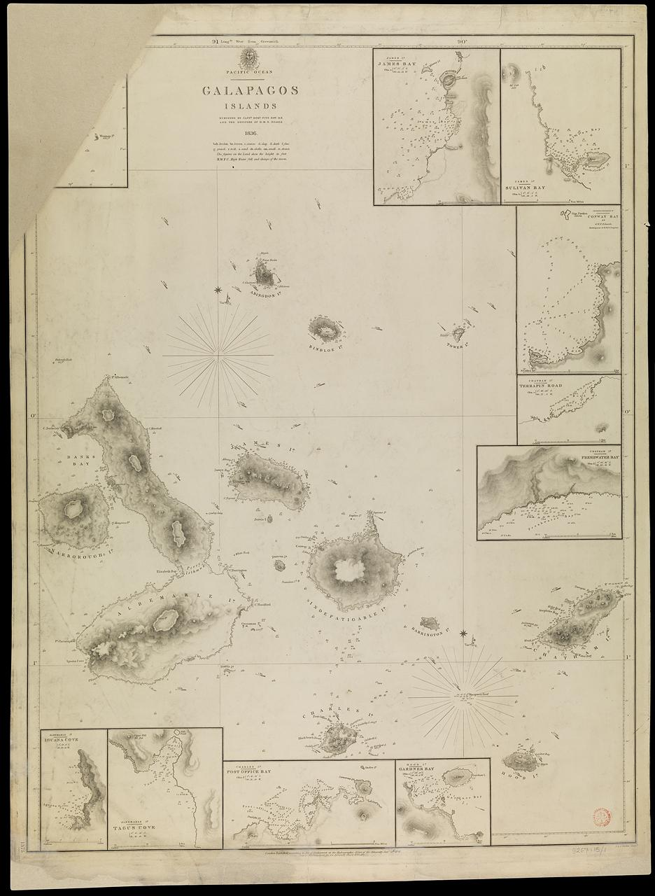 Chart of the Galapagos Islands: This chart was largely surveyed between 15 Sept and 21 Oct 1835, while Charles Darwin was making the observations of different forms of the same species on different islands (© National Maritime Museum)