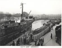 Cutty Sark entering the dry dock