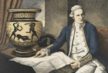 Contemporary picture of Captain Cook by Marian Maguire