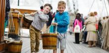 Photo of boys on deck of Cutty Sark