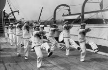Photograph of Warspite cadets dancing the hornpipe 1928