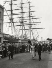 HM The Queen leaving the Cutty Sark gardens - 1957
