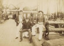 Petty Officers on board, c 1887. Left to right: Third Mate James Weston, Steward G. Thompson, Cook James Robson. © National Maritime Museum, Greenwich