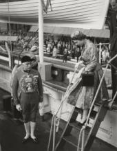 HM The Queen on day of Cutty Sark's royal opening, 25 June 1957 © Cutty Sark Trust
