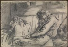 Night Journey - naval personnel asleep in a railway compartment, 1943, by Gladys E. Reed, Museum no. PAH0085