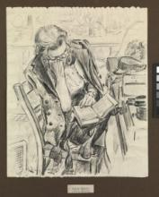 Night Watch. Wren on duty reading a book, about 1943–44, by Gladys E Reed, Museum no. PAH0088