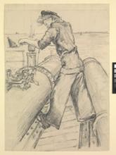Wren torpedoman servicing torpedo tubes, about 1943–44, by Gladys E Reed, Museum no. PAH0090