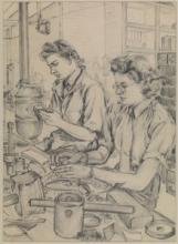 Wren torpedoman at work on stripping and cleaning parts of depth charges, about 1943–44, by Gladys E Reed, Museum no. PAH0091