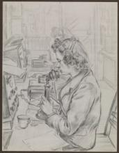 Wren wireless telegraphist transmitting a message by radio-telephony by Gladys E. Reed, Museum no. PAH0095