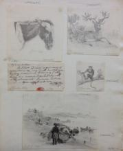 Sheet of Studies, by Edward William Cooke (aged 11), 1822, National Maritime Museum, PAE6638-PAE6641
