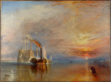 The Fighting Temeraire, Tugged to her Last Berth to be Broken Up, 1838', by J.M.W Turner, 1839 © National Gallery, London.  The painting is currently (to 21 April 2014) on display in 'Turner and the Sea' at the National Maritime Museum, Greenwich.