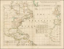 Thomas Jefferys. Chart of the Atlantic Ocean, with the British, French & Spanish settlements in North America