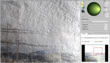The RTI viewer and my painting, showing how Eurich scraped down the impasto in the sky to create the masts of the ship