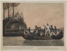 The mutineers turning Bligh and his crew from the