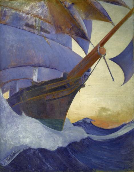 An oil painting of Cutty Sark by artist John Everett