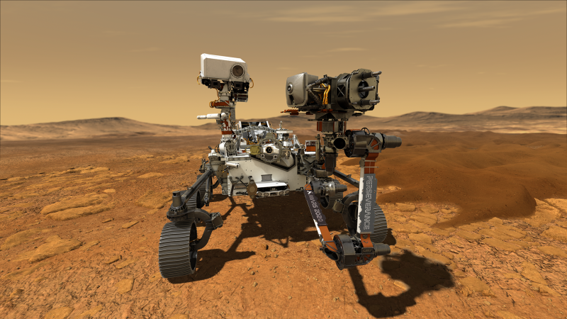 An artist's impression of NASA's Perseverance Rover on the surface of Mars