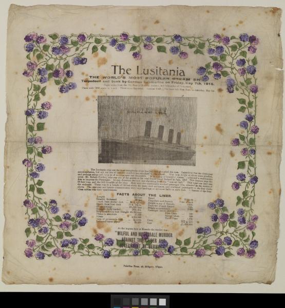 AAB0603 R.M.S Lusitania commemorative napkin