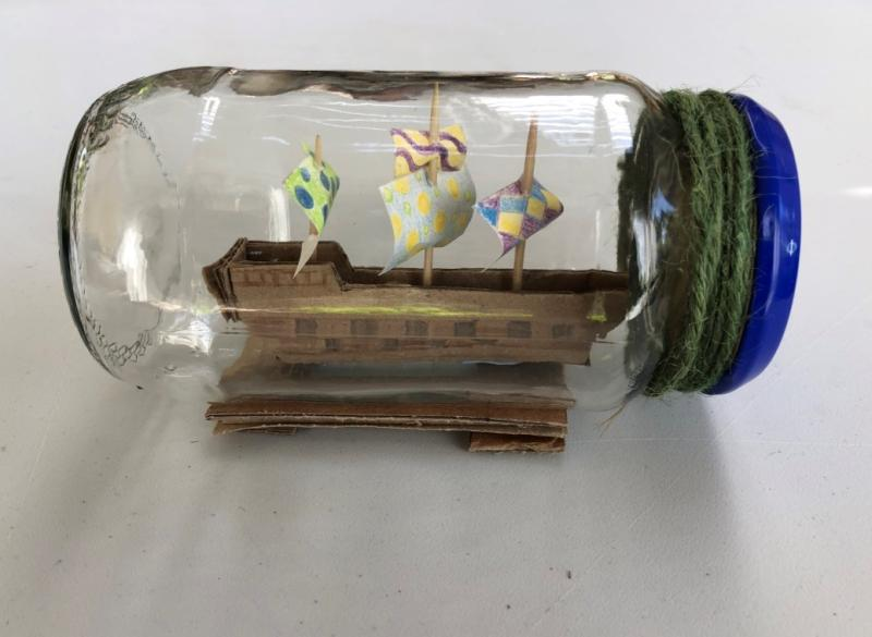 family craft activity drawn ship in a jam jar