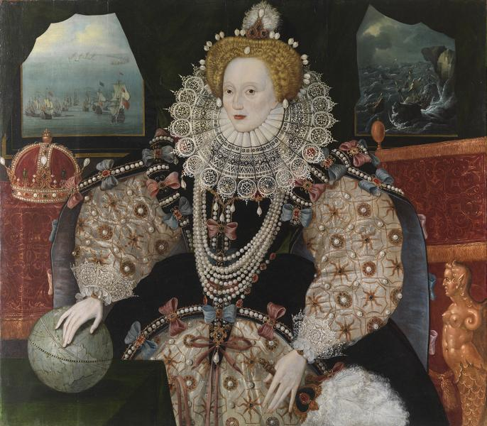 The Armada Portrait of Queen Elizabeth I resting her hand on a globe with a crown in the background