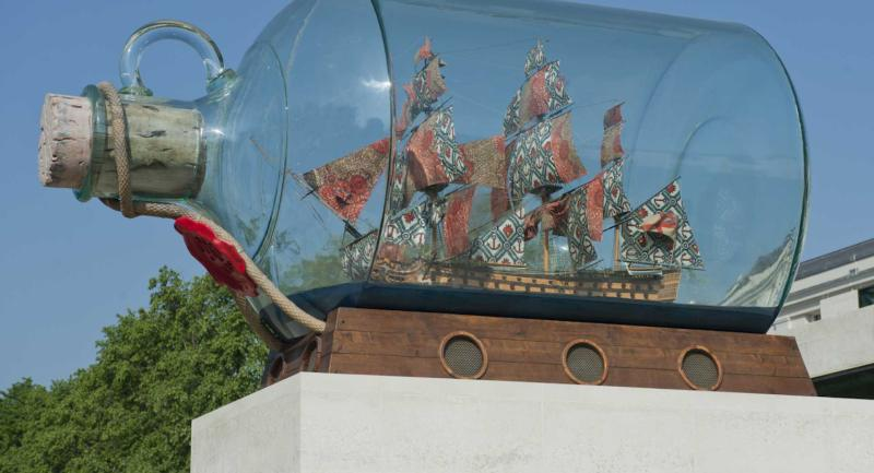 Yinka Shonibare's Nelson's Ship in a Bottle outside the National Maritime Museum