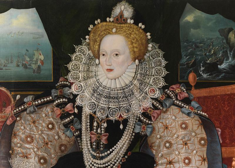 The iconic portrait of Elizabeth I, with the Queen's face framed with an elaborate lace ruff