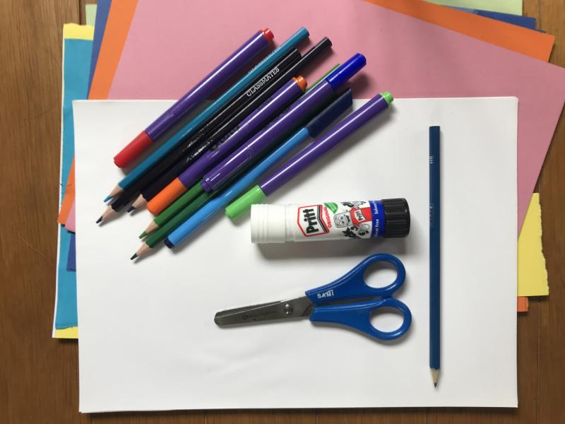 (Source of scissors, felt pens glue and colorful papers picture)