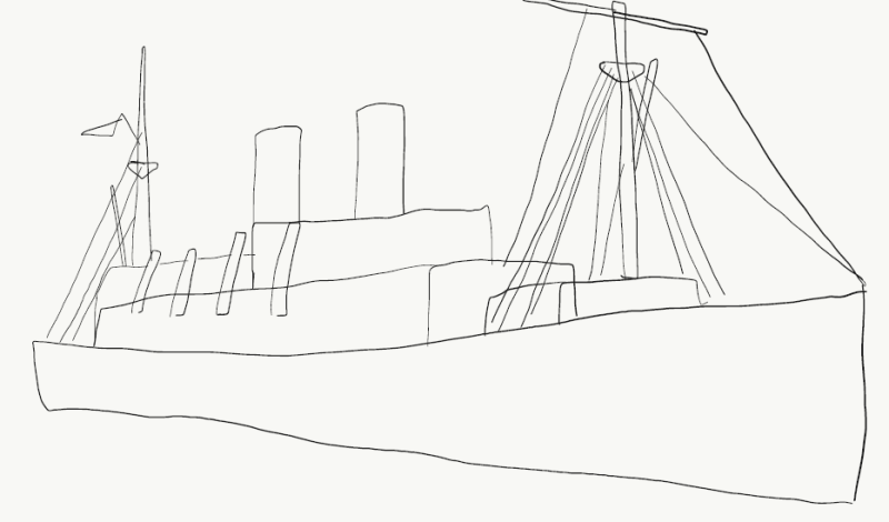 line drawing of Empire Windrush